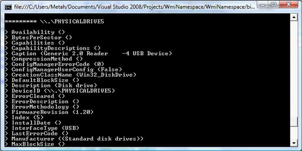 wmi Class Instance Screenshoot