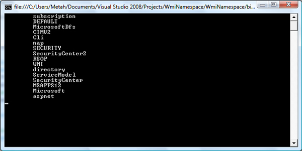 WMI Namespace Screenshoot